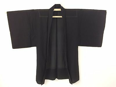 Authentic Japanese black see through summer haori jacket for men, large (K1468)