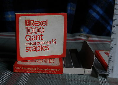 """REXEL STAPLES 5/16"""" BOX OF 1000 NOS FITS GIANT STAPLERS  Vintage"""