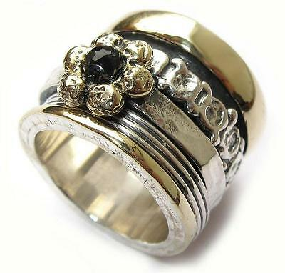 Ring for woman garnets wide band spinner ring silver gold all sizes Meditation