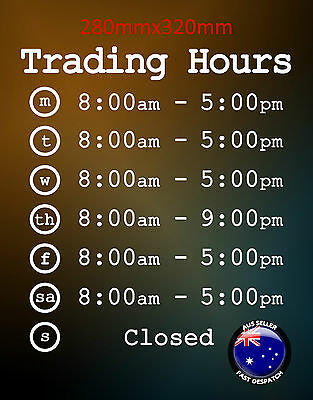 Opening Trading Business Hours Vinyl Decal Sticker - 280x320mm