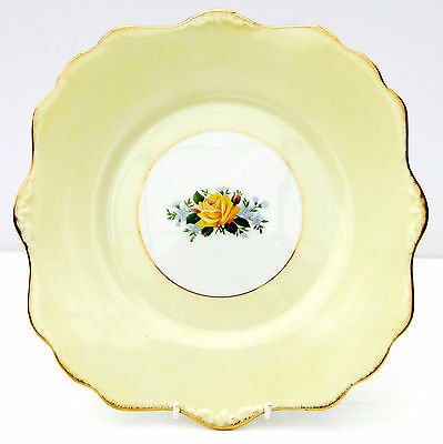 Vintage Royal Stafford Yellow Rose Bone China Cake Plate Floral