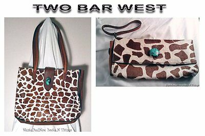 McFadin TWO BAR WEST - Leather & Hair Matching Hobo Tote & Clutch Wallet