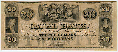 1840's US.$20 Canal Bank - New Orleans GEM-UNC Obsolete Banknote.
