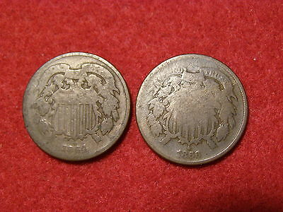1864 & 1866 2 Cents '2 Coin Lot' [Worn]