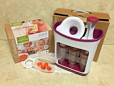 Infantino Fresh Squeeze Station + 50 Storage Pouches & Funnel + Couple A Spoons