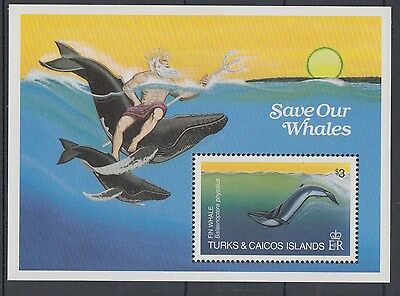 XG-AC083 TURKS & CAICOS IND - Marine Life, 1983 Save The Whales MNH Sheet