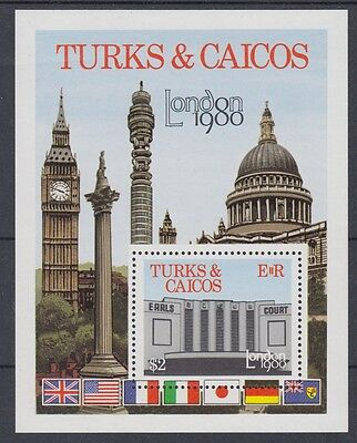 XG-AC064 TURKS & CAICOS IND - Architecture, 1980 London '80 Stamp Expo MNH Sheet