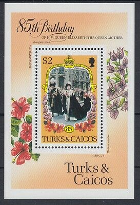 XG-AC098 TURKS & CAICOS IND - Royalty, 1985 Queen Mother 85Th Birthday MNH Sheet