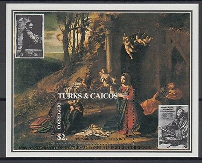 XG-AC085 TURKS & CAICOS IND - Paintings, 1984 Correggio, Easter MNH Sheet