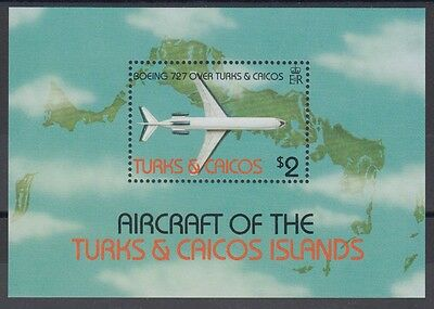 XG-AC079 TURKS & CAICOS IND - Aviation, 1982 Maps, Boeing 727 Aircraft MNH Sheet
