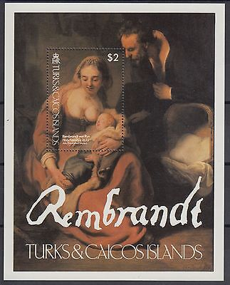 XG-AC062 TURKS & CAICOS IND - Paintings, 1979 Rembrandt, Holy Family MNH Sheet