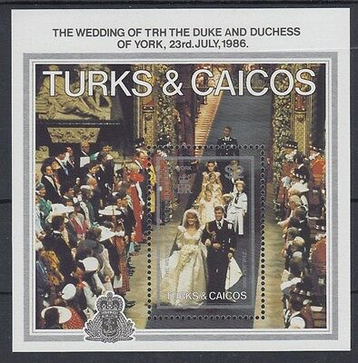 XG-AC105 TURKS & CAICOS IND - Royalty, 1986 Duke And Duchess Of York MNH Sheet