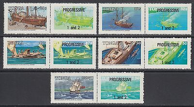 XG-AB649 TONGA IND - Ships, 1985 Adventures Of Will Mariner, W/ Labels MNH Set