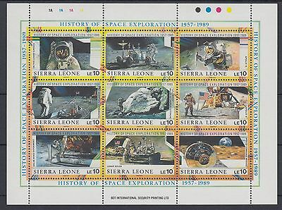 XG-AC442 SIERRA LEONE IND - Space, 1989 History Of Exploration, 10 Le MNH Sheet