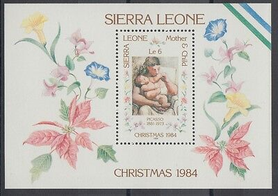 XG-AC367 SIERRA LEONE IND - Paintings, 1984 Christmas, Picasso MNH Sheet