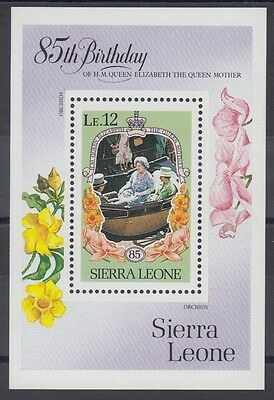 XG-AC372 SIERRA LEONE IND - Royalty, 1985 Queen Mother 85Th Birthday MNH Sheet