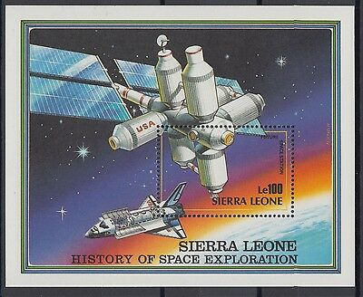 XG-AC443 SIERRA LEONE IND - Space, 1989 History Of Exploration Station MNH Sheet