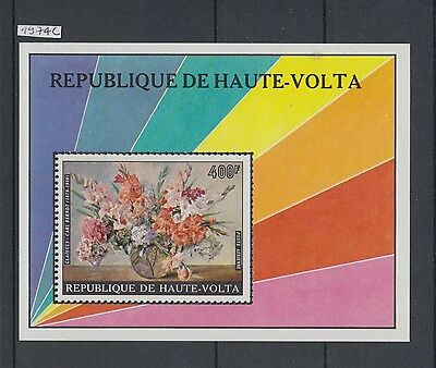 XG-AA816 UPPER VOLTA IND - Paintings, 1974 Flowers, Imperf. MNH Sheet