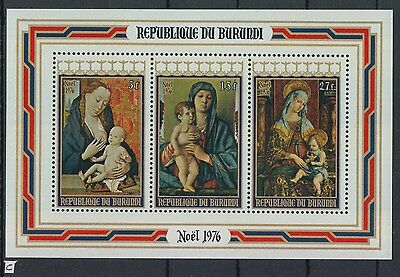 XG-Z720 BURUNDI - Paintings, 1976 Christmas, Madonnas MNH Sheet