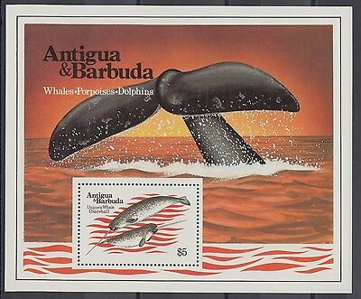 XG-AC177 ANTIGUA & BARBUDA IND - Marine Life, 1983 Whales, Dolphins MNH Sheet
