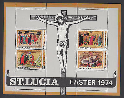 XG-AA824 ST LUCIA IND - Easter, 1974 Paintings, Religion MNH Sheet
