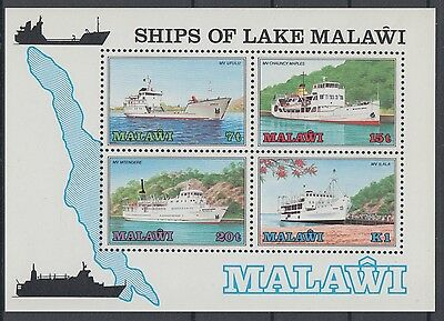 XG-AD499 MALAWI - Ships, 1985 On Lake Malawi MNH Sheet