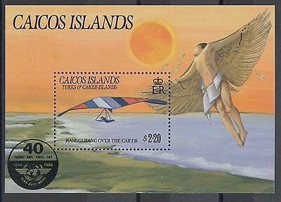 XG-AC713 CAICOS IND - Aviation, 1985 Icao, Hang Glider MNH Sheet