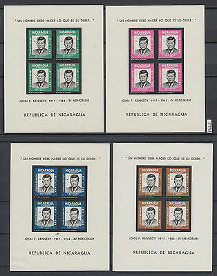 XG-AA325 NICARAGUA - Kennedy, 1965 In Memory, 4 Imperf. Sheets MNH