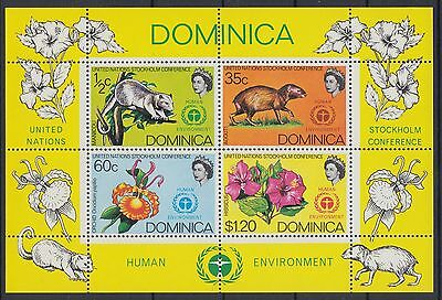 XG-AB897 DOMINICA IND - Wild Animals, 1972 Flowers Nature Environment MNH Sheet