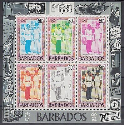 XG-AC797 BARBADOS IND - Mail History, 1980 London '80, 50C Sheet Of 6 MNH Sheet