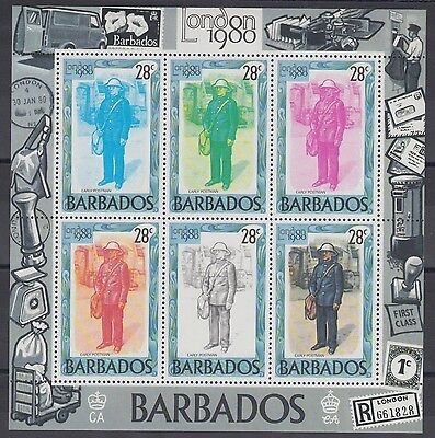 XG-AC798 BARBADOS IND - Mail History, 1980 London '80, 28C Sheet Of 6 MNH Sheet
