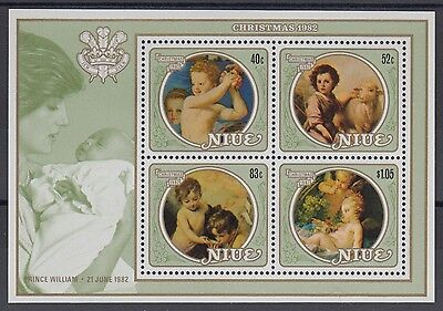 XG-AD592 NIUE IND - Paintings, 1982 Christmas, Prince William MNH Sheet