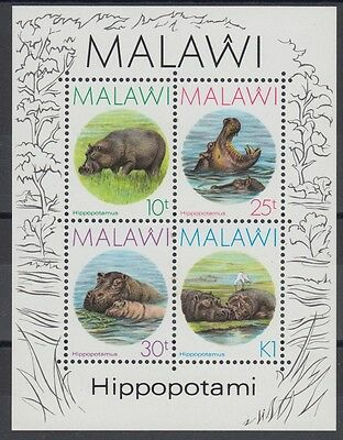 XG-AD503 MALAWI - Wild Animals, 1987 Hippopotami, Nature MNH Sheet
