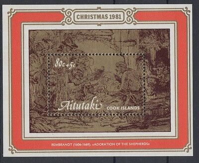 XG-AC871 AITUTAKI IND - Christmas, 1981 Paintings, Rembrandt MNH Sheet