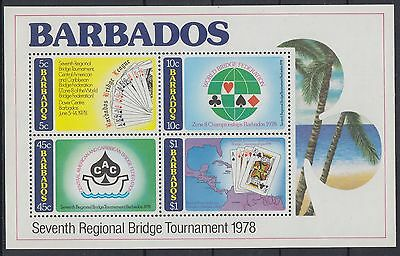 XG-AC794 BARBADOS IND - Playing Cards, 1978 Regional Bridge Tournament MNH Sheet