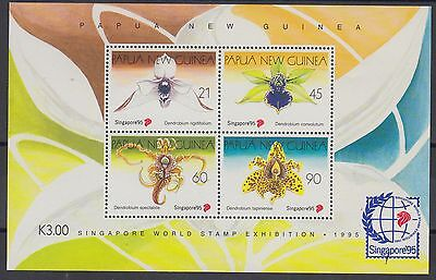 XG-AD681 PAPUA NEW GUINEA IND - Flowers, 1995 Orchids, Singapore '95 MNH Sheet