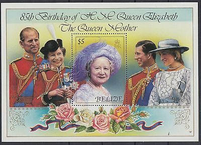 XG-AD849 BELIZE - Royalty, 1985 Queen Mother 85Th Birthday, $5 MNH Sheet
