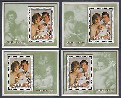 XG-AD593 NIUE IND - Lady Diana, 1982 Prince William, Christmas, 4 Sheets MNH
