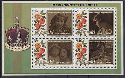 XG-AC889 AITUTAKI IND - Royalty, 1986 Queen Mother 85Th Birthday MNH Sheet