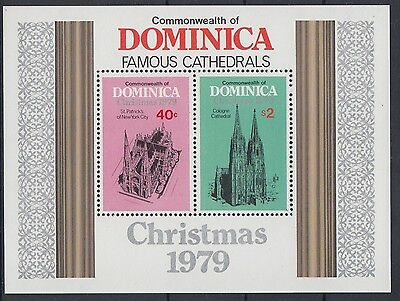 XG-AB933 DOMINICA IND - Architecture, 1979 Famous Cathedrals Christmas MNH Sheet