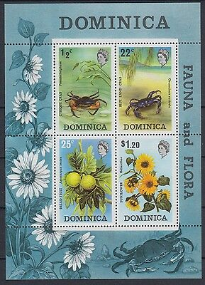 XG-AB901 DOMINICA IND - Wild Animals, 1973 Fauna Flowers Crabs Nature MNH Sheet