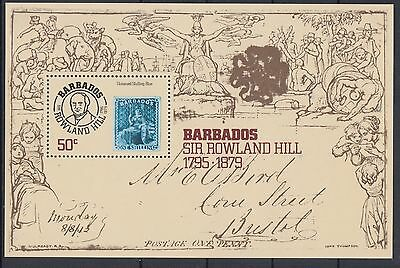 XG-AC795 BARBADOS IND - Stamp On Stamp, 1979 Rowland Hill MNH Sheet
