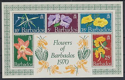 XG-AC787 BARBADOS IND - Flowers, 1970 Flora, Imperf. MNH Sheet