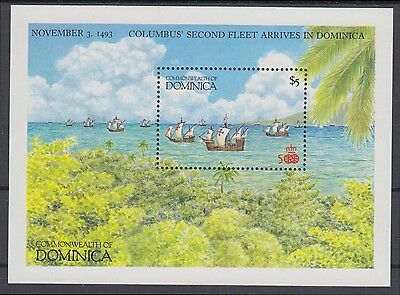 XG-AB993 DOMINICA IND - Columbus, 1987 America'S Discovery, Ships MNH Sheet