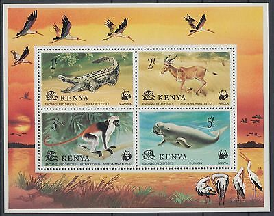 XG-AC957 KENYA - Wwf, 1977 Wild Animals, Endangered Species MNH Sheet