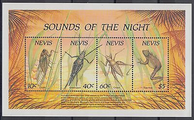 XG-AD571 NEVIS IND - Insects, 1989 Nature, Sounds Of The Night MNH Sheet