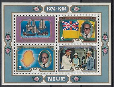 XG-AD606 NIUE IND - Ships, 1984 Maps, Self Government Anniv. MNH Sheet