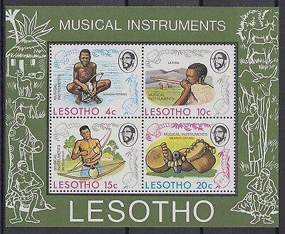 XG-AD381 LESOTHO - Music, 1975 Musical Instruments MNH Sheet