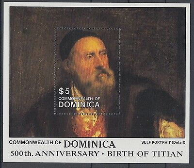 XG-AC009 DOMINICA IND - Paintings, 1988 Titian Anniversary, Portrait MNH Sheet