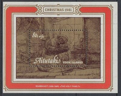 XG-AC869 AITUTAKI IND - Christmas, 1981 Paintings, Rembrandt MNH Sheet